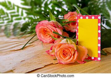 anya nap, kártya, és, roses.
