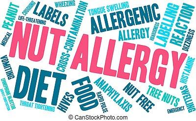 anyacsavar, felhő, szó, allergia