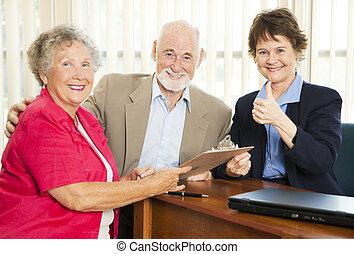 anyagi, idősebb ember, -, tanács, thumbsup