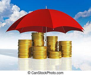 anyagi stability, ügy, siker, és, biztosítás, fogalom