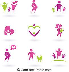anyaság, terhesség, és, egészség, ikonok, elszigetelt,...