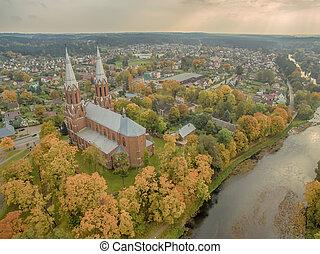 Anyksciai, Lithuania: neo-gothic roman catholic church in the autumn