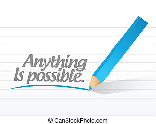 anything is possible written message illustration design...