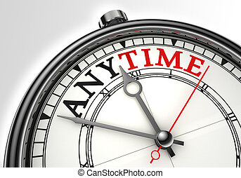 anytime concept clock closeup on white background with red...