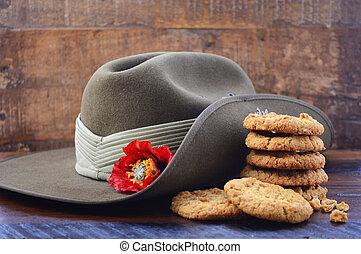 anzac, armee, slouch, australische, biscuits., hut