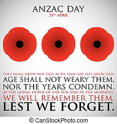 ANZAC (Australia New Zealand Army Corps) Day card in vector...
