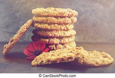 anzac, biscuits., weinlese, retro