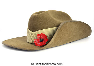 Anzac Day army slouch hat with red poppy on white background.