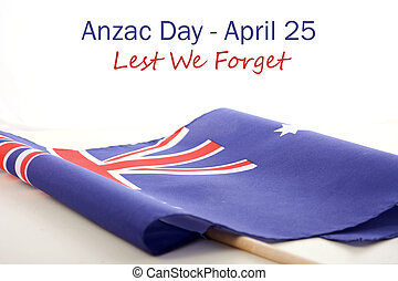 ANZAC Day Australian Folded Flag - ANZAC Day, Lest We...