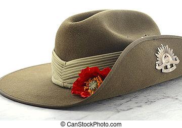 ANZAC Day Australian Slouch Hat - ANZAC Day, April 25, army...