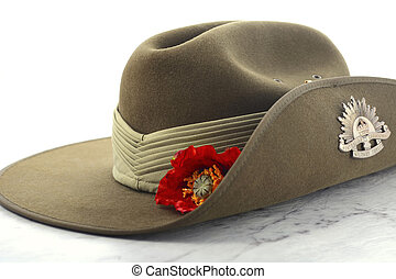 ANZAC Day Australian Slouch Hat - ANZAC Day, April 25, army...