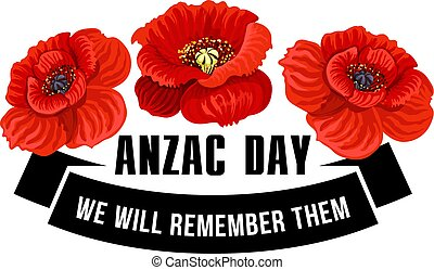 Anzac Day icon of poppy flower with black ribbon - Anzac Day...