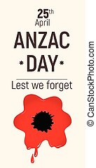Anzac Day Lest we forget red bloody poppy 25 April