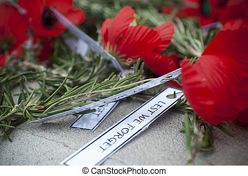 Anzac Day poppies - close up of poppies and rosemary on an...
