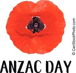 Anzac Day vector card. Bright Poppy Flower