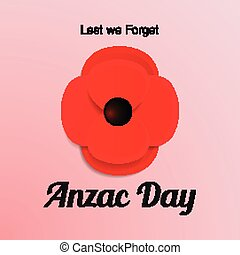 Anzac Day vector card. Paper cut Red Poppy flower