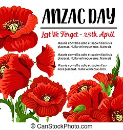 Anzac Day vector remembrance card red poppy design
