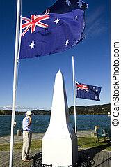 Anzac Day - War Memorial Service - A New Zealander person...