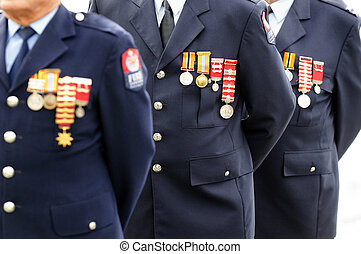Anzac Day - War Memorial Service - Close up of a veteran ...