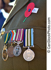 Anzac Day - War Memorial Service - Close up of war medals on...