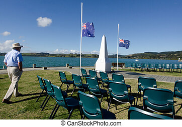 Anzac Day - War Memorial Service - A New Zealander person...