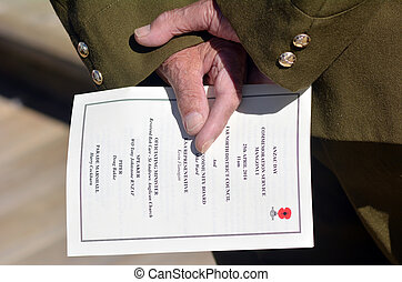 Anzac Day - War Memorial Service - New Zealand Army veteran...