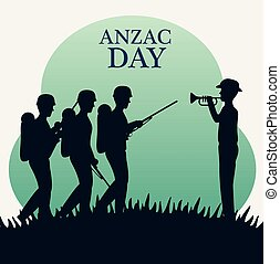 anzac day with Silhouette soldiers in the field vector...