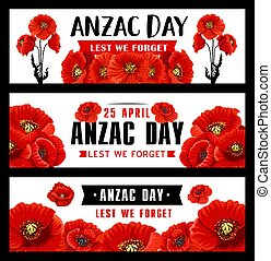 Anzac Remembrance Day banner with red poppy flower
