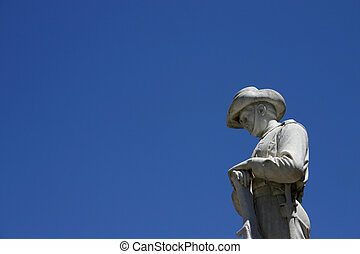 A statue of a soldier to remember the Australian and New Zealand soldiers (ANZAC's) that fought in world war one.