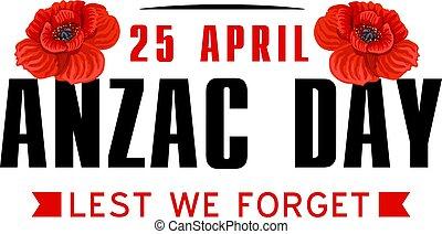 anzac, vallmo, blomma, ikon, för, värld, kriga minnesmärke, dag