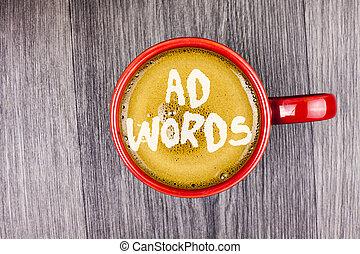anzeige, foto, aus, ergebnisse, words., ansicht., becher, oberseite, schreibende, hintergrund., geschrieben, internet, begrifflich, rotes , bohnenkaffee, geschaeftswelt, ausstellung, hand, durchsuchung, hölzern, grau, text, werbung, zuerst