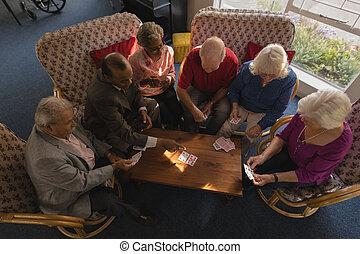anziano, amici, casa, cartelle, gruppo, allattamento, gioco