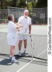 anziano attivo, coppia, -, sportsmanship