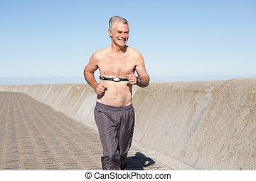anziano, attivo, shirtless, jogging, banchina, uomo