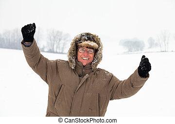 anziano attivo, uomo, inverno, felice