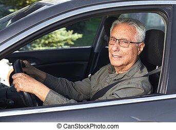 anziano, automobile, driver