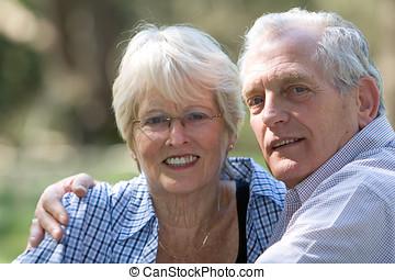 anziano, bello, coppia