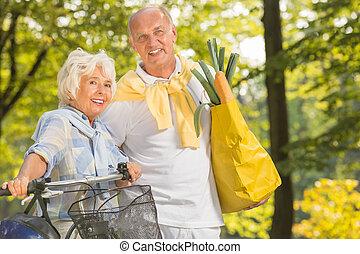 anziano, bicicletta, donna