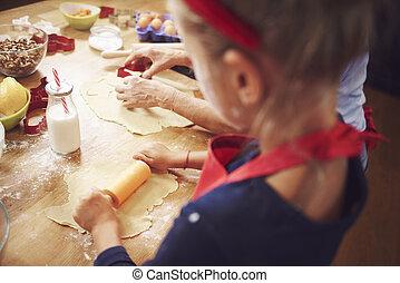 anziano, biscotti, cottura, natale, ragazza