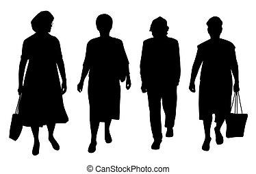 anziano, camminare, donne
