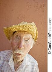 anziano, cappello, uomo, cowboy