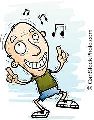 anziano, cartone animato, ballo