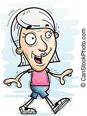 anziano, cartone animato, camminare, cittadino
