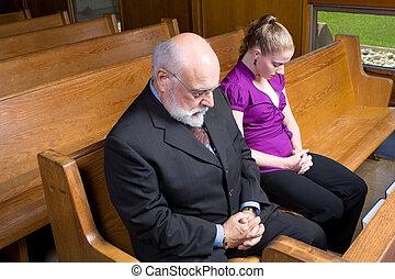 anziano, caucasico, donna uomo, pregare, chiesa, pew