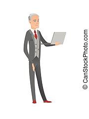 anziano, caucasico, uomo affari, usando, uno, laptop.