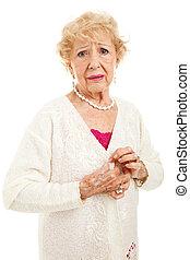 anziano, con, doloroso, artrite, sintomi