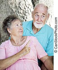 anziano, -, coppia, rimprovero