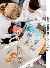 anziano, dentale, donna, operation.