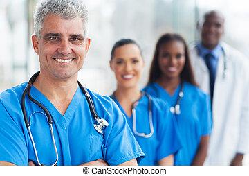 anziano, dottore, squadra medica