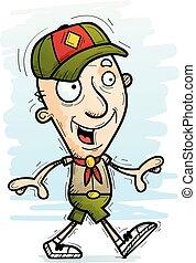 anziano, esploratore, cartone animato, camminare, cittadino